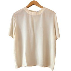 100% Silk Off White Short Sleeve Vintage Tee